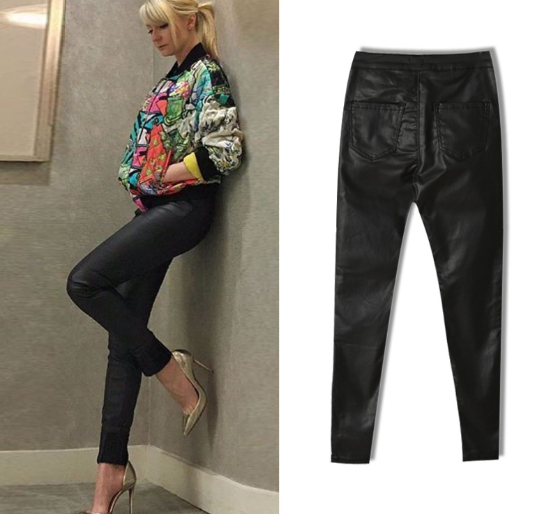 2017 New Hot Eu Models Women Sexy Slim PU Pockets Leather Pencil Pants Motor Style All-Match Fleece Trousers Slim Faux Leather (6)
