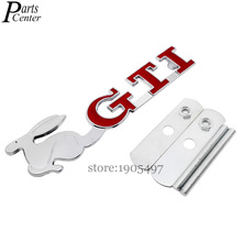 For Rabbit GTI Racing Logo Car Styling Front Hood Grille Emblem 3D Metal Grill Sticker Badge For VW Golf Jetta CC Beetle Polo