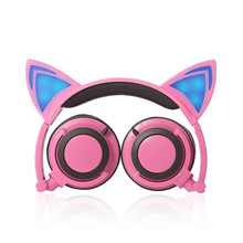 Cartoon Cat Ear Shape Wired Headphone with Glowing Lights Headband Headphone for Mobile Phone PC Computer for Children(China)