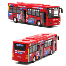 Baby Toys Pull Back Alloy Tourist Bus Toy with Music & Flashing Lights Electric Toys for Children Birthday Xmas Gift(China)