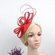 European Hotselling Women Classic Red Beige Navy Blue Mini Sinamay Hair Fascinator Headband Royal Party Feather Hairband 2016