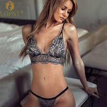 Buy LOPNT New 2018 sexy bras women deep-V floral lace bralette+brief set mesh transparent push brasier mujer plus size underwear