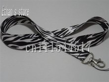 Brand New Black and White Animal Print Zebra mobile lanyard for ID MP3 Holders +Free Shipping