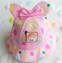 Free Shipping!2016 New Toddler Infant Bowknot Dots sun cap Spring Summer Outdoor Baby girls sun Beach Bucket Hat