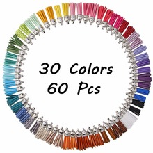 Silver Cap Tassel Vintage 60pcs 30 Colors 40mm Leather Tassels for DIY Jewelry Fringe Keychain Cellphone Straps Pendant #247379