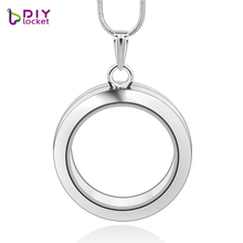 diylocket 8 style 30mm silver round floating charms locket zinc alloy magnetic silver glass round floating locket with chains(China)