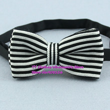 Black,white Striped Butterfly/bowties,brand New Men Knitted Polyester Pre-tie Adjustable Knitting Bow Ties,z17,cheap