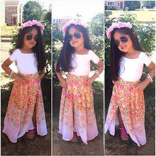 New Popular Baby Girls Clothes Summer Cool Short T-Shirt+Chiffon Dresses Flower Two-Piece Outfits Sets 2 3 4 5 6 7 8 Years
