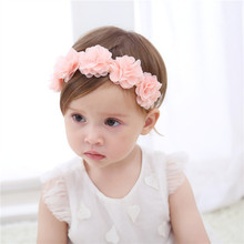 New Cute Baby Pink Chiffon Flower Headbands Kids Lovely Lace Hairbands Children Infant Birthday Party Holiday Hair Accessories