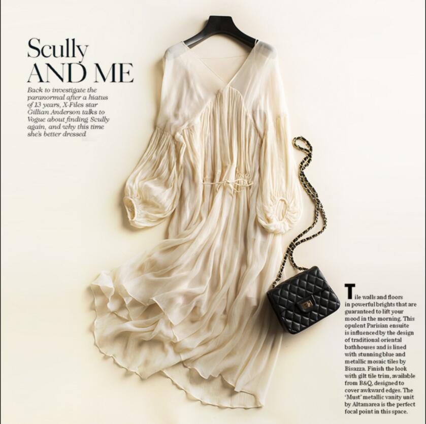 beige silk beach dress