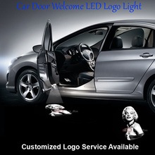 2x 3D Sexy Marilyn Monroe Logo Car Door Welcome Laser Projection Ghost Shadow Puddle LED Wired Light #C0819