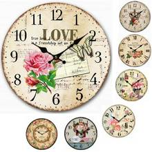 Antique Wooden Wall Clock Vintage Silent Large Decorative Rustic Wall Clocks Country Style Home Decor
