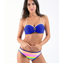 Buy 2018 Sexy Push Bikini Swimsuit Women Plus Size Swimwear Halter Patchwork Bikini Set Swimsuits Beach Swimming suit Female XXL