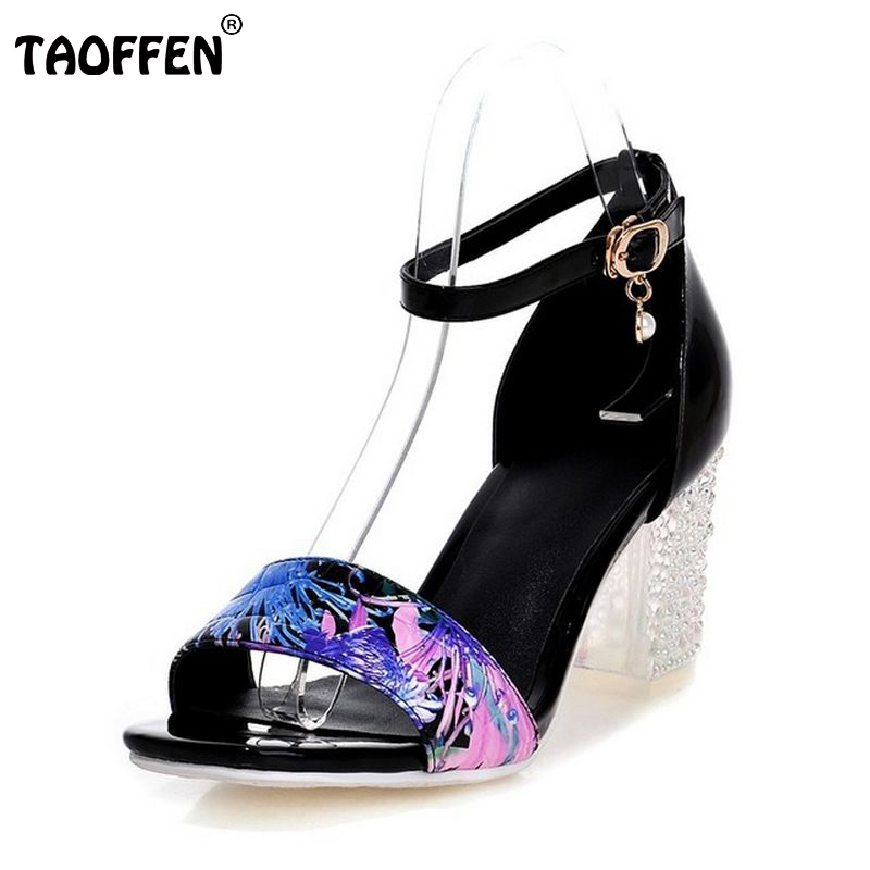 women stiletto print flower square  buckle high heel sandals sexy fashion ladies heeled footwear heels shoes size 34-39 P18771<br><br>Aliexpress