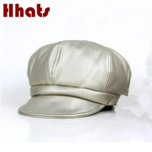 which in shower boy girl fashion PU painter cap solid color faux leather kids beret foldable plain newsboy hat children berets(China)