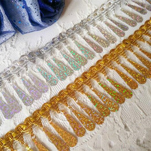 3colors sequined lace dance clothing accessories beaded fringe trim(China)
