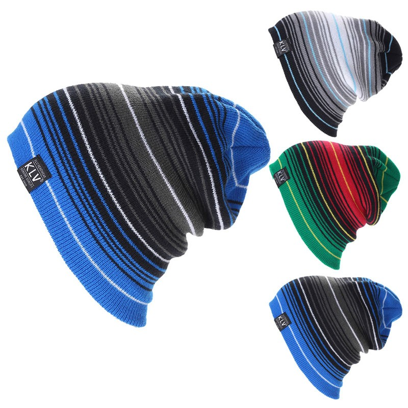 KLV Multilayer-Stripe Collision Color Wool Hat Slouchy Winter Knitted Beanie Cap
