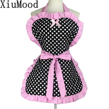 XiuMood Cute Court Princess Cotton Printing Dot Pink Lace Waterproof Apron Gift For Woman