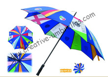 Free shipping by sea,14mm metal shaft and double fluted ribs,manual golf umbrella,anti-rust,advertising gift promotion umbrella(China)