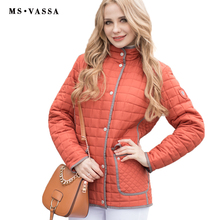 MS VASSA Women jacket 2017 New casual jacket Autumn Spring Ladies Coat rips tape around hem and placket plus size 5XL 6XL 7XL(China)