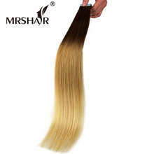 "MRSHAIR 22"" Ombre Tape Extensions 20pcs Brazilian Straight Skin Weft Hair Non Remy Natural Human Hair Tape In T6/12/24#(China)"