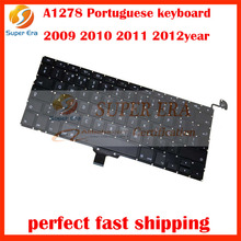 5pcs/lot A1278 PO PT layout keyboard for macbook pro 13.3'' Portuguese keyboard clavier without backlight 2009 2010 2011 2012(China)