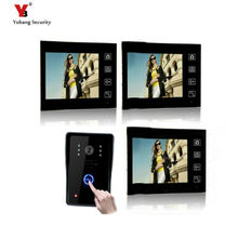 Yobang Security Freeship 7 Inch Apartment Video Intercom 2.4 Ghz Wireless Door Camera Video Door Phone 1 Camera and 3 Monitors