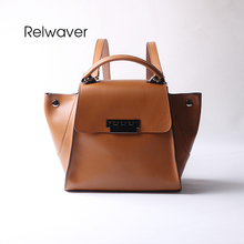 Relwaver cowhide split leather backpack school bags fashion stylish multifuctional soft wing lock women's shoulder bag backpack(China)