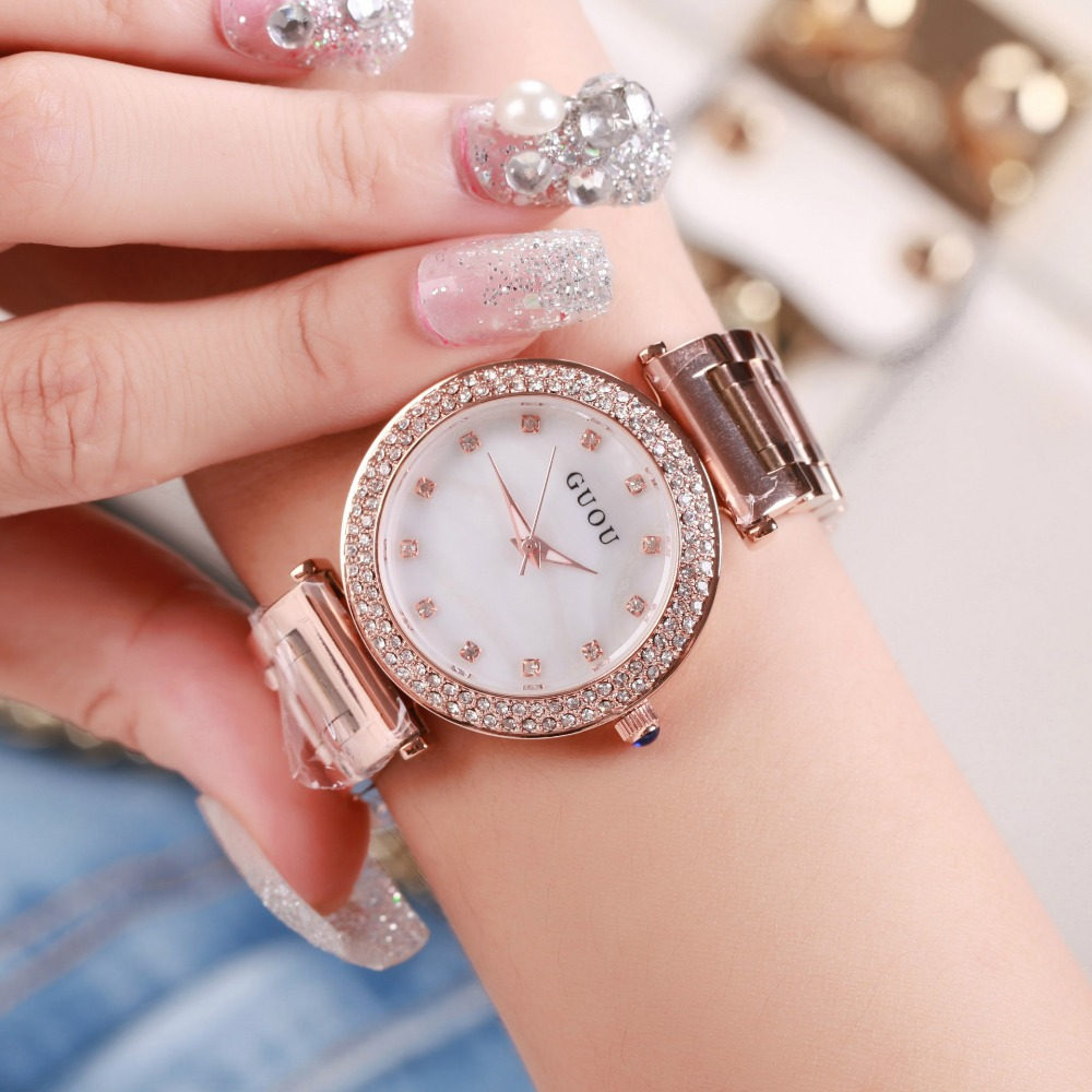 Diamond Ladies Watch Hongkong GUOU Brand rose Gold Steel Watch Crystal Rhinestone Quartz Women Watch Clock kobiet zegarka<br>