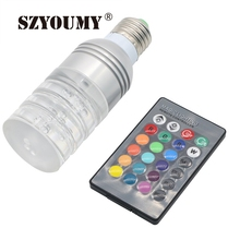 Hot  Selling 16 Colors Changing Energy Saving Clear Crystal E27 3W RGB LED Lamp Light AC 85-265V 25pcs/lot DHL Drop Ship