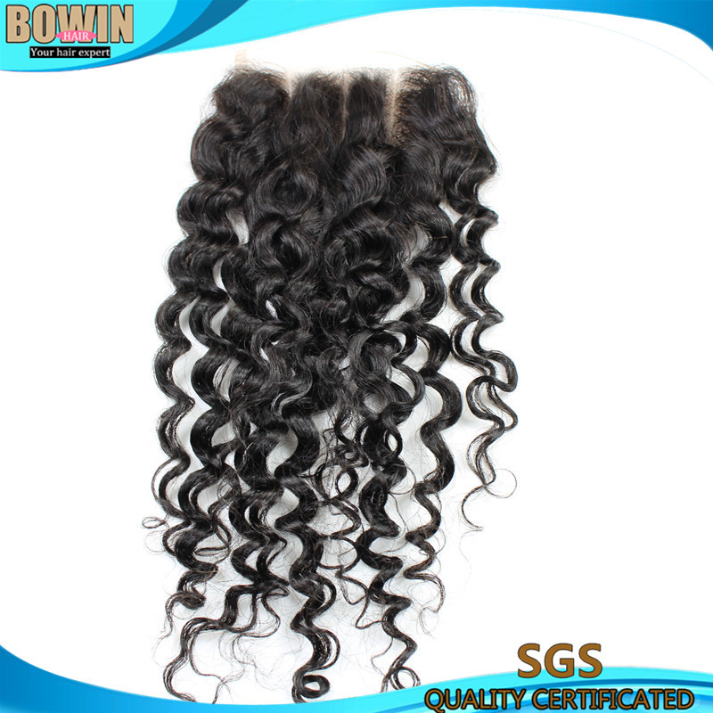 6A Brazilian Curly Virgin Hair Lace Closure Three Part  Bowin Hair Bleached Konts Deep Wave Curly Closure <br><br>Aliexpress