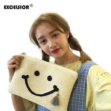 Fashion Korean Style Women Straw Weave Tassel Envelope Clutch Bag Cartoon Smile Face Hand Bag Ladies Small Knitting Purse G0820(China)