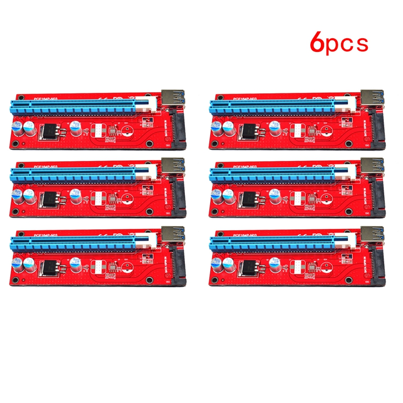 6Pcs USB 3.0 PCI Express 1x to 16x Extender Cable Riser Card Adapter w/ PCI-E SATA 15pin Power Cord for ETH LTC BTC Mining 60cm<br>