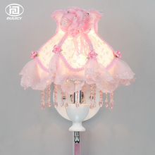 European Style Modern E27 LED Crystal Wall Lamp Bedroom Bedside Princess Children's Room Romantic Bud Silk Decoration Wall Light(China)