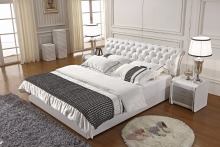 white diamond tufted modern genuine leather soft bed contemporary bedroom furniture China
