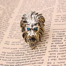 High Quality alloy Lion Head Finger Ring For Women Men Blue  Crystal Eyes Punk Style Fashion Female Male Jewelry