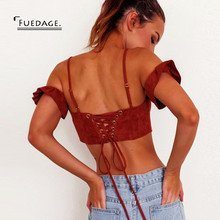 Fuedage Summer Women Casual Tank Top 2017 Sexy Crop Top Brown Lace Up Cropped Feminino Bustier Colheita Tops Beach Club Camis(China)