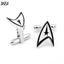 JINSE Jewellery Star Trek Ensign Badge Wars Cufflinks Male French Shirt Cuff Links For Men's Jewelry Gift CFL066