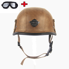 Open Face Helmet Motorcycle Motorbike Scooter Leather Helmet with Visor UV Goggles Retro Vintage Style 58-61cm