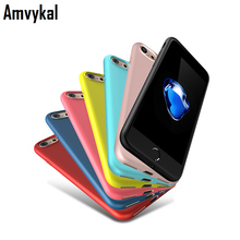 Amvykal For iphone 7 6 6S Plus Case Jelly Soft TPU Matte Case Ultra Thin 0.6 mm Candy Color Soft Gel Silicone Cover 100 pcs/lot(China)