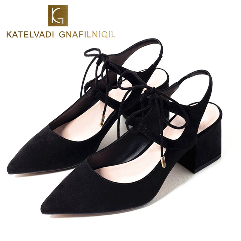 Brand Shoes Woman Lace Up Mid Heels Black Women Pumps Pointed Toe 6CM Heels Womens Shoes Ankle Strap Ladies Shoes Summer B-0042<br>