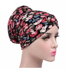 New Arrival Women vintage Turban Hat flower print hats Chemo Hats Bandana Hijab fashion Indian cap beanies for women