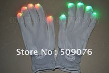 Free shipping 100pcs(50pairs)7 Modes Entertainment Flashing Gloves Glow LED Rave Light Finger Lighting Mitt white