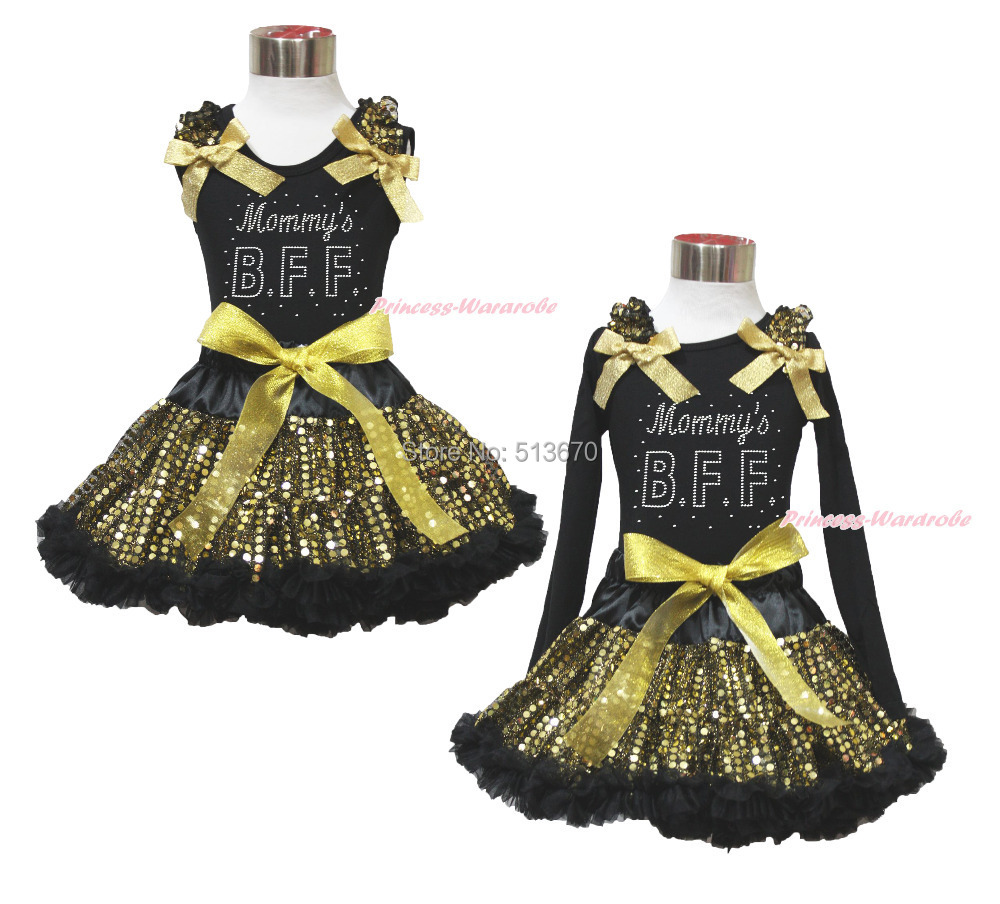 Easter Rhinestone Mommys BFF Black Top Bling Gold Sequins Girl Pettiskirt 1-8Y MAPSA0484<br>