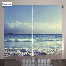 Curtains LivingRoom Tropical Island Home Decor Collection Waves Seychelles Beach Navy Blue White Bedroom 2 Panels Set 145*265 sm