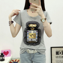 Sequined T-shirt Spring Summer Fashion O Neck Short Sleeve Tshirt Sequins Perfume Bottle Solid Cotton T Shirt Women Tops Tees