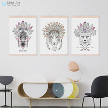 Modern Fashion Indian Animal Head Deer Horse Zebra Wooden Framed Canvas Painting Home Decor Wall Art Print Picture Poster Hanger(China)