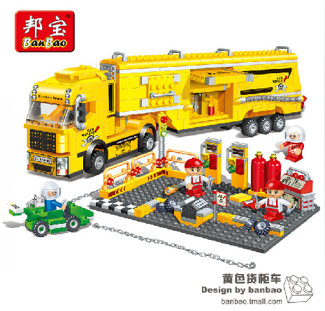 Model building kit compatible with lego racing container truck F1 3D block Educational model building toy hobbie for children<br>