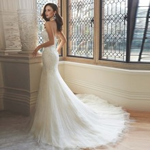 New Custom Made Mermaid Wedding Dress Beading Pearls Applique Unique Australia Lace over satin fit and flare wedding dress 2017