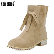 Buy KemeKiss Size 32-48 Women Flat Half Short Boots British Fashion Lace-up Round Toe Botas Winter Warm Boot Brand Footwear Shoes for $23.83 in AliExpress store